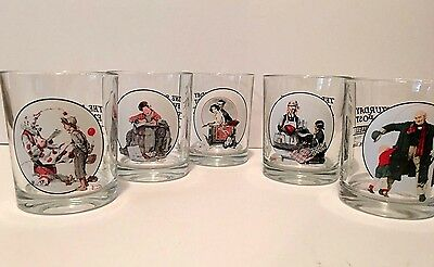 Vintage set of 5 Norman Rockwell lowball glasses cocktail glasses