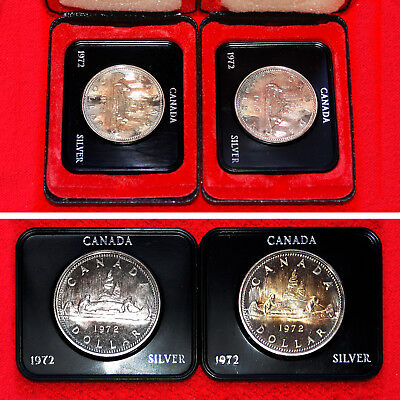 1972 Silver Issue Unc Canadian Voyageur $1 Dollar Coins (2 Silver Coins)+Boxes