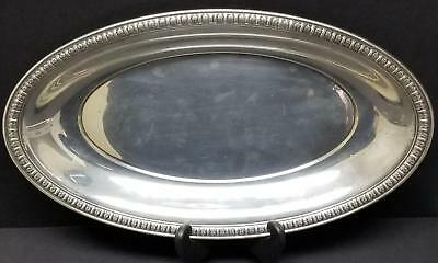 """Alvin Sterling 12"""" x 7"""" Oval Bread Tray Serving Plate S66 Leaf Scroll Trim 234g"""