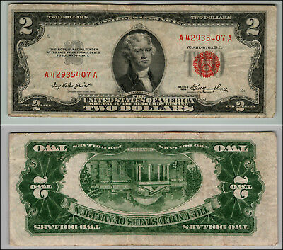 (1)-1953  Series United States Note Red Seal $2 Two Dollar Bill  LT Z897