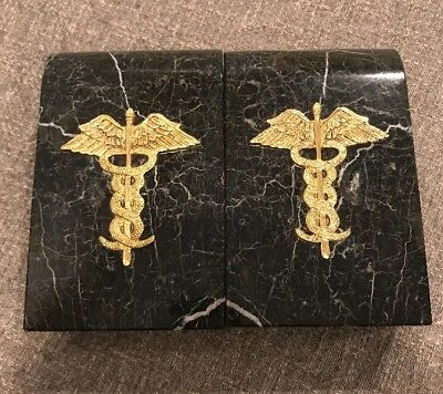 Vintage Pair Of Green Marble Granite Caduceus Bookends Doctor Physician Symbol