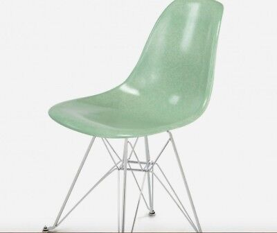 EAMES 2 mint green fiberglass side chairs with wire eiffel base.