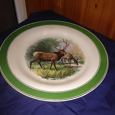 Antique 1905 Buffalo Pottery China Larkin Soap Advertising Plate ELK DEER Green