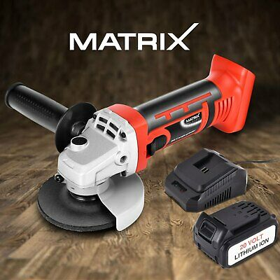 Matrix Cordless Angle Grinder 115mm Metal Cutting Tool 20V 4.0Ah Battery Charger