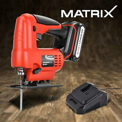 Matrix Cordless Jigsaw Power Tool Cutting 20V w/ 1.5Ah Lithium Battery Charger