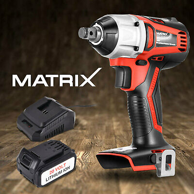 "Matrix 20V Brushless Cordless Impact Wrench 3/8"" w/ 4.0Ah Li-Ion Battery Charger"