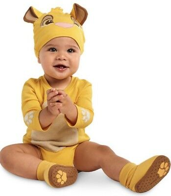 DISNEY Store SIMBA Baby LION KING Infant Bodysuit Costume Hat 3 6 9 12 SHOES NEW