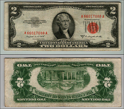 (1)-1953B  Series United States Note Red Seal $2 Two Dollar Bill  LOT P698