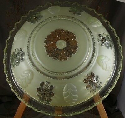 """ANTIQUE Glass LIGHT SHADE Hanging 3 Chain LIGHT Shade Only FROSTED YELLOW  15"""" W"""
