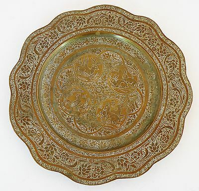 Antique fine etched brass plate, with roosters, Deer, Rabbits and flowers