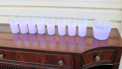 Col Mw:  West Virginia Glass Purple  Ice Bucket And 8 Glasses
