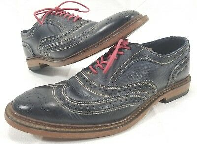 3424801838c Allen Edmonds Neumok Blue Oxford Wingtip Shoes Leather Size 7.5 D Made In  USA