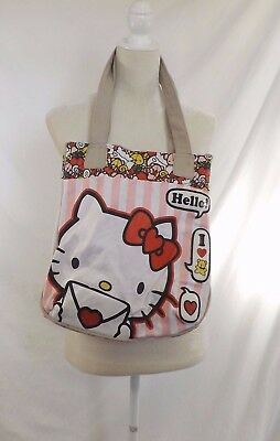 Lounge Fly Hello Kitty Canvas Lined Beach/Tote Bag - Pink striped GUC