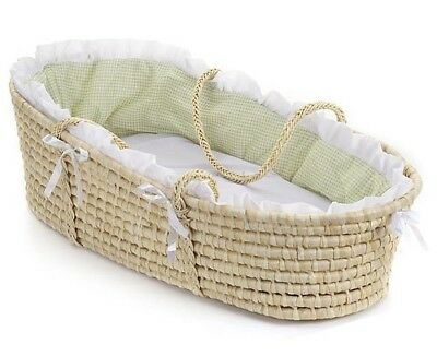 Natural Baby Infant Moses Basket Sage Gingham Bedding NEW