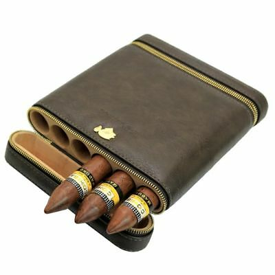 COHIBA Coffee Leather Spanish Cedar Lined 6 Tube Cigar Case Humidor Humidifier