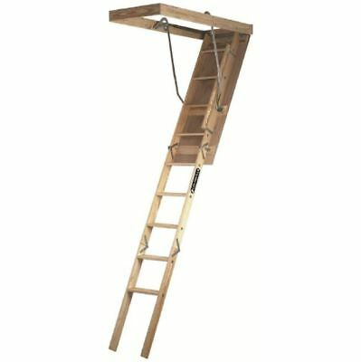 Wood Attic Ladder, 7 ft.-8 ft. 9 in. 250 lb. Maximum Load Capacity Ladder/Stairs