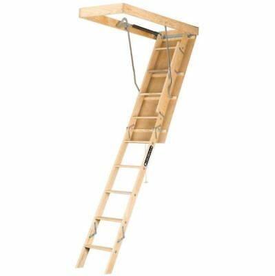 Pine Wood Attic Ladder,8ft. 9 in.-10ft. 250 lb. Duty Load Capacity Ladder/Stairs