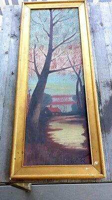 Superb Vintage Arts and Crafts Oil Painting, Signed – Vertical Panoramic Autumn