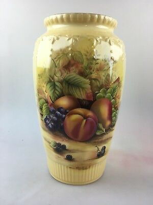 AYNSLEY ORCHARD GOLD VASE - SIGNED BY MICHAEL AYNSLEY -25cm - WITH BROCHURE