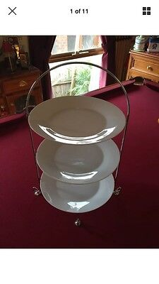 3 Tier Chrome Plated Serving Stand White Plates Cakes Cupcakes High Tea Wedding