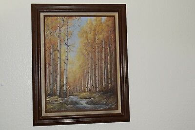 Vintage Earlane Noles Original oil painting Aspen forest and stream 16x12