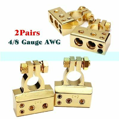 2 Pairs Heavy Duty Plated Car Battery Terminals Positive Negative Connectors NI