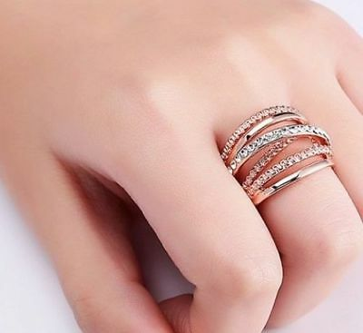 87e48cb58 Genuine Cz Rose Gold Entwined Entwining Russian Wedding Ring Size Sale