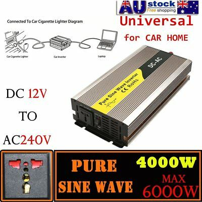 Pure Sine Wave Power Inverter 4000W - 6000W DC12V to AC240V Adapter Converter NI