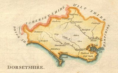 Antique county map of Dorsetshire by John Aiken. Hand coloured c1790 old