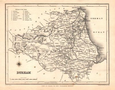 Antique county map of DURHAM by Starling & Creighton for Lewis. Unions c1840