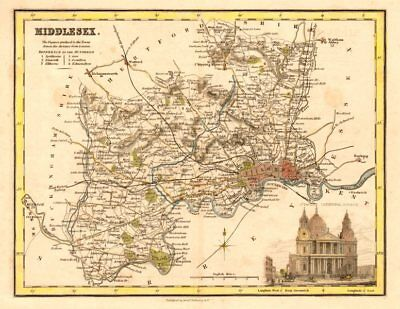 Antique county map of Middlesex by Archibald Fullarton. London railways c1833