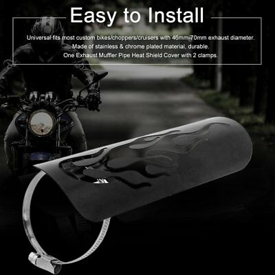 Motorcycle Exhaust Muffler Pipe Heel Guard Heat Shield Cover Universal Black NI