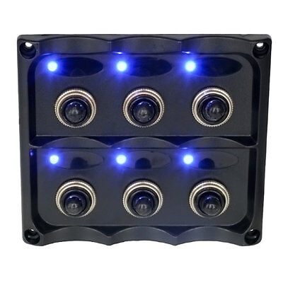 6 Gang 12V Switch Panel Splashproof Toggle LED Back Indicator Blue Light NI