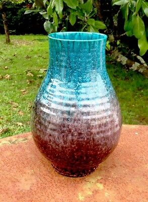 Ancien grand vase faïence ACCOLAY,design vintage,céramique 40-50-60-70-80.
