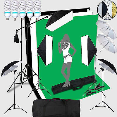 5X150W Portraint Professional Photo Studio Continuous Lighting Lamp Kit Set +Bac