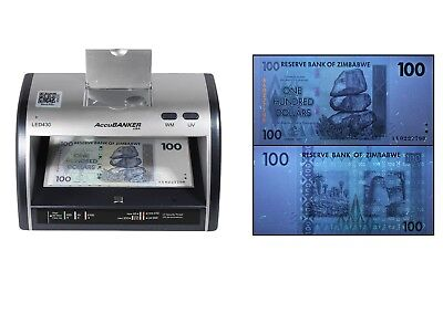 AccuBANKER LED430 Counterfeit Money Detector for Currencies+ZIMBABWE $100 DOLLAR