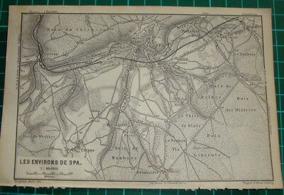 Antique map Spa enviroment kaart Belgium 1885 carte