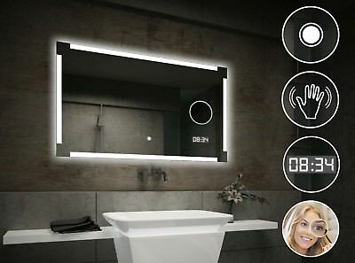 LED Illuminated Bathroom Mirror L71 | Switch | LED Clock | Make-Up Mirror