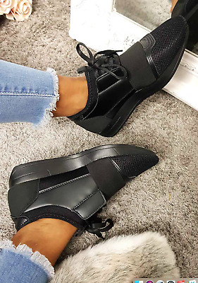 Womens Ladies Lace Up Sports Casual Gym Fitness Trainers Sneaker Shoes Size