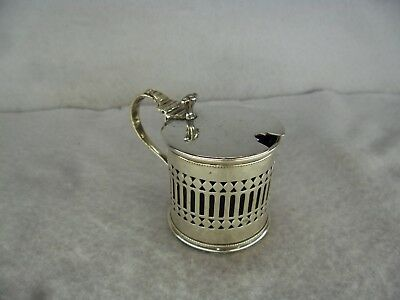 Georgian Style Pierced Solid Silver Mustard Pot, Chester 1920 a/f