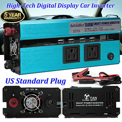 1500W/3000 Watts DC to AC Car Power Inverter Charger 4 USB Port & 2 Outlets New