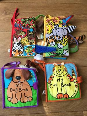 Little Jellycat Cloth Soft Baby Books x 4Jungly Pets Tails Peek My Dog My Cat