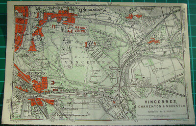 Antique map Vincennes Charenton Nogent Paris environs 1911 carte