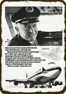 1973 DELTA AIRLINES 747 JET Vintage Look METAL SIGN - CAPTAIN PILOT PAUL BENNETT