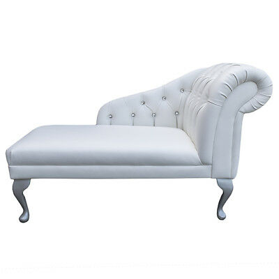 """45"""" Small Chaise Longue Lounge Sofa Bench Seat Chair White Faux Leather Button"""