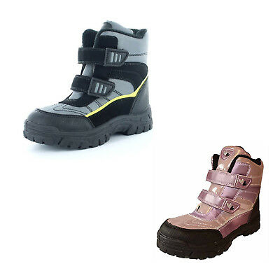Kids Boys Girls Touch Strap Childrens Winter Snow Ankle Boots Shoes Size