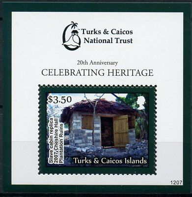 Turks & Caicos 2012 MNH National Trust 20th Anniv Slave Cabin 1v S/S Stamps