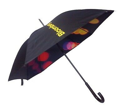 Bloomberg Square Double Layer Umbrella with crook - Black Canopy Colourful Inner