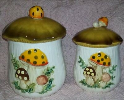 Vintage 1978 SEARS, ROEBUCK & CO. 2pc Merry Mushroom Ceramic CANISTERS Lot