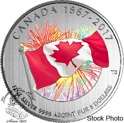 Canada 2017 $5 Proudly Canadian Flag with Fireworks Silver Coin